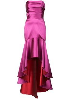 Marchesa fluted asymmetric-hem gown
