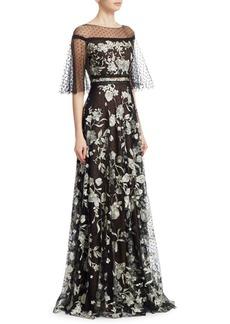 Marchesa Flutter Sleeve Flocked Gown