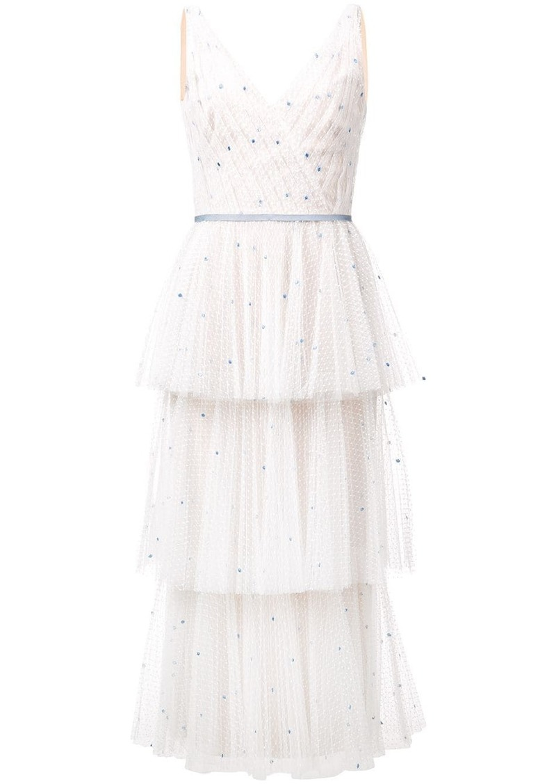 Marchesa frilled midi dress