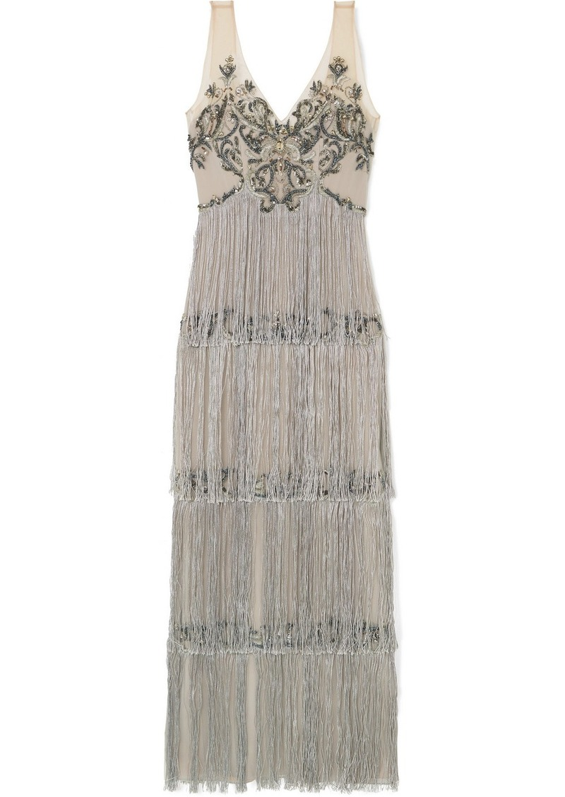 Marchesa Fringed Embellished Tulle And Satin Gown