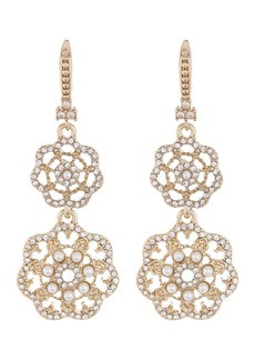 Marchesa Gold-Tone Crystal & Faux Pearl Filigree Double Drop Earrings