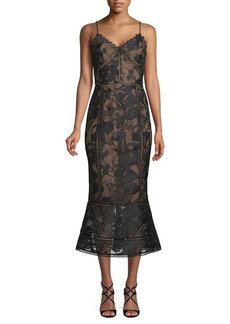 Marchesa Guipure Lace Midi Dress