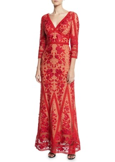 Marchesa Guipure Lace V-Neck 3/4-Sleeve Gown