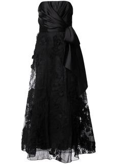 Marchesa knot-detail lace gown