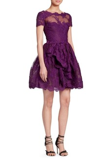 Marchesa Lace & Mesh Cocktail Dress