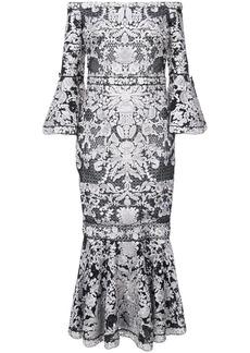 Marchesa lace-embroidered midi dress