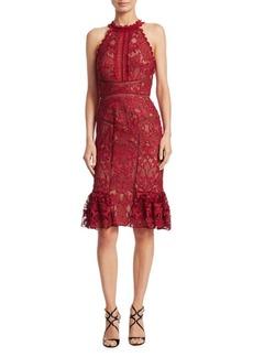 Marchesa Lace Knee-Length Dress