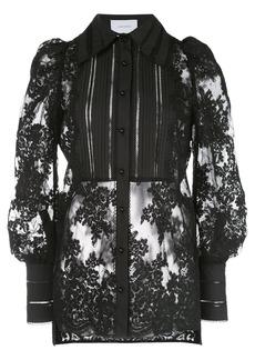Marchesa lace long-sleeve blouse