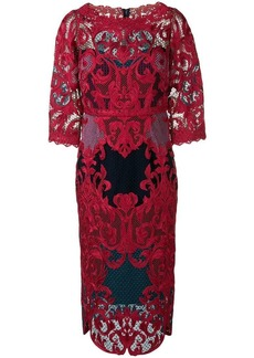 Marchesa lace panel fitted dress