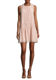 Marchesa Lace Panel Slip-On Dress