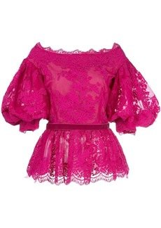 Marchesa lace puff-sleeve blouse