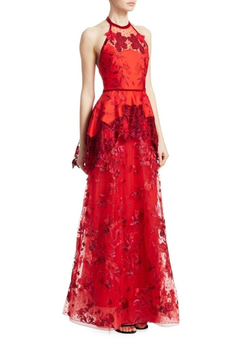 Marchesa Laser Cut Embroidered-Floral Halter Gown