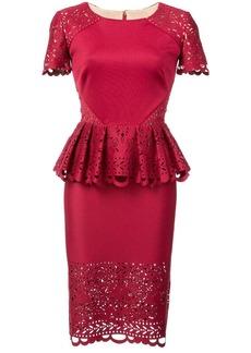 Marchesa laser-cut peplum midi dress