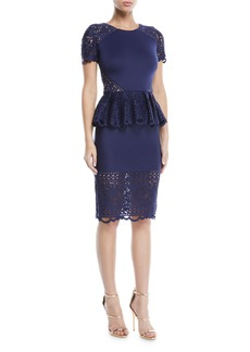 Marchesa Laser-Cut Scuba Cocktail Dress w/ Peplum