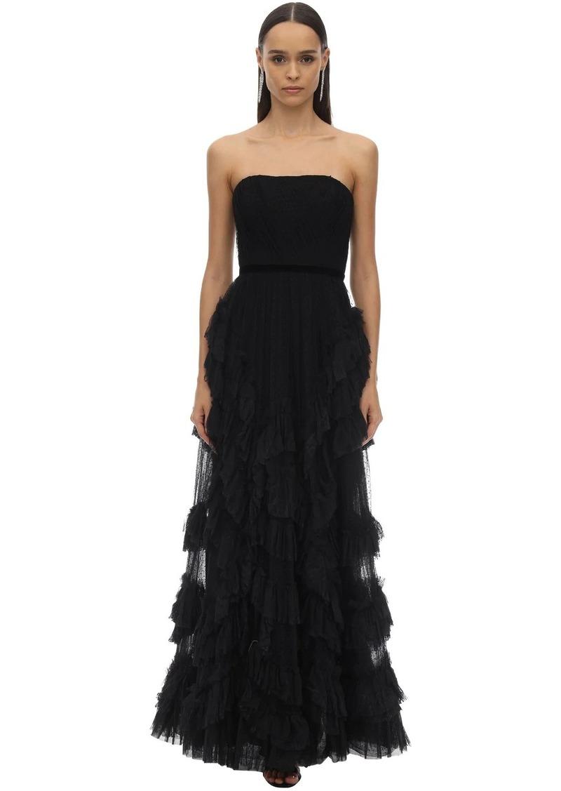 Marchesa Long Draped & Ruffles Tulle Dress W/lace