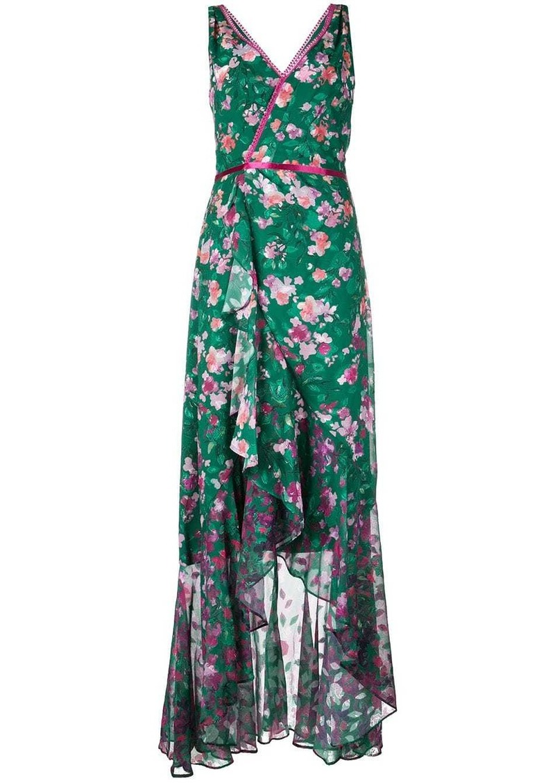 Marchesa long floral wrap dress