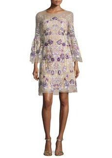 Marchesa 3/4-Sleeve Floral-Embroidered Illusion Dress