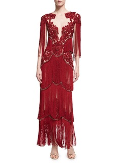 Marchesa Beaded Illusion Fringe-Sleeve Gown