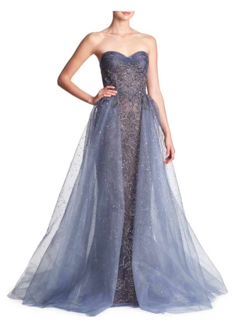 Marchesa Beaded Tulle Metallic Gown | Dresses
