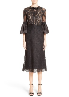 Marchesa Bell Sleeve Lace Midi Dress