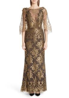 Marchesa Cape Detail Metallic Lace Gown