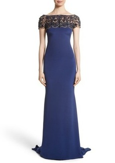 Marchesa Embellished Bodice Silk Mermaid Gown