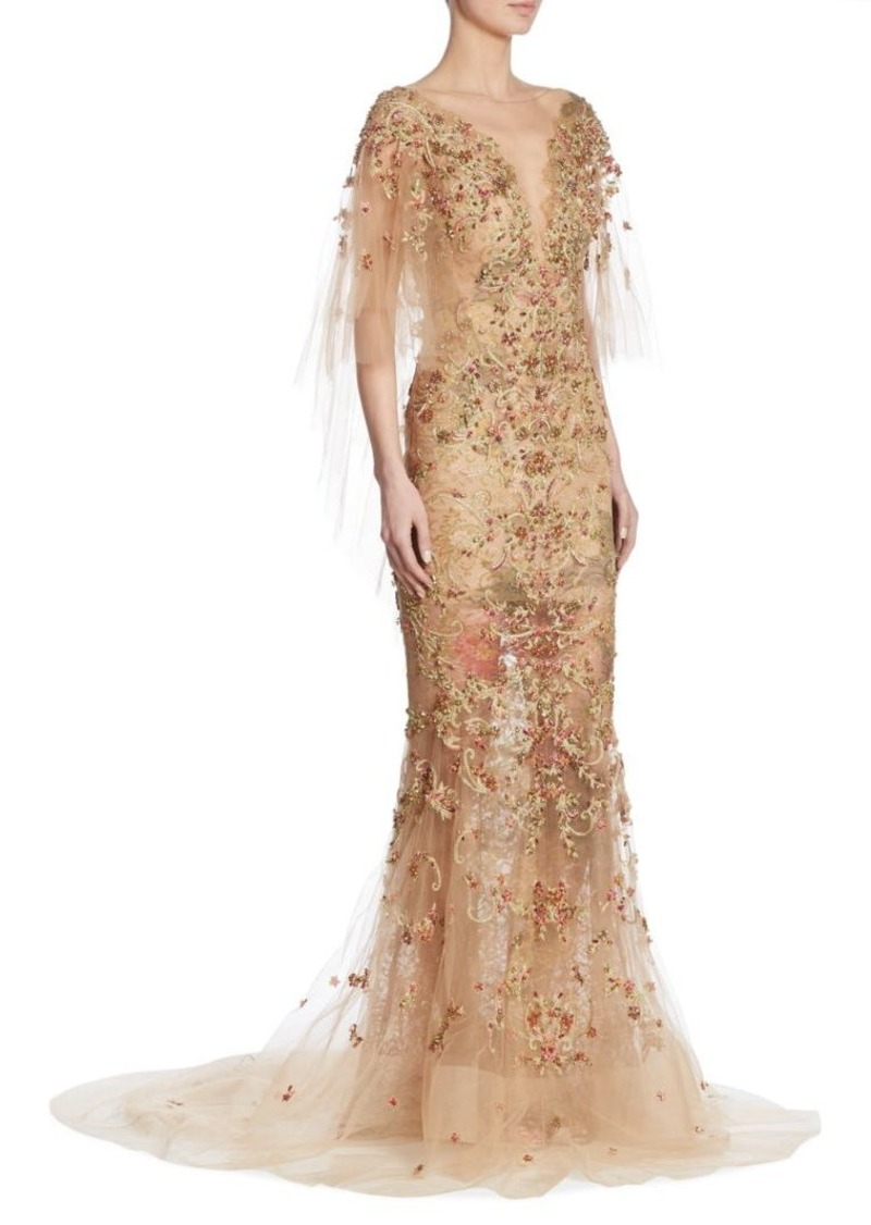 Marchesa Embellished Cape Gown | Dresses