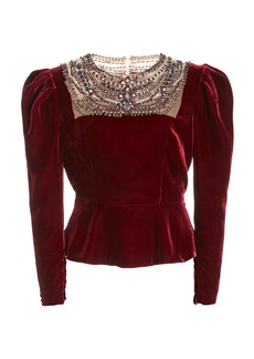 Marchesa Embellished Puffed-Sleeve Velvet Top