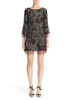 Marchesa Embellished Three Quarter Sleeve Tulle Tunic