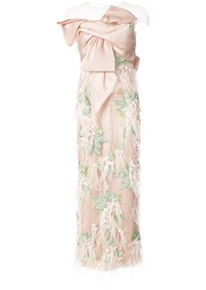 Marchesa embroidered bow bodice gown - Pink & Purple