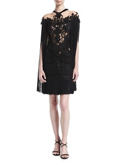 Marchesa Embroidered Cape-Sleeve Cocktail Dress