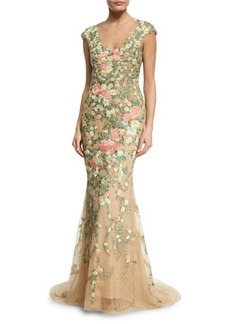Marchesa Embroidered Floral Cap-Sleeve Gown