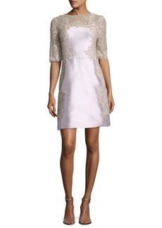 Marchesa Embroidered Half-Sleeve A-Line Cocktail Dress