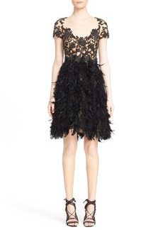 Marchesa Embroidered Illusion & Feather Cocktail Dress (Nordstrom Exclusive)