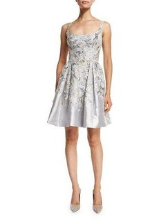 Marchesa Embroidered Sleeveless Scoop-Neck Cocktail Dress