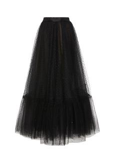 Marchesa Embroidered Tulle Midi Skirt