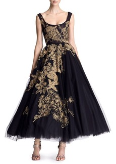 Marchesa Embroidered Tulle Tea-Length Gown