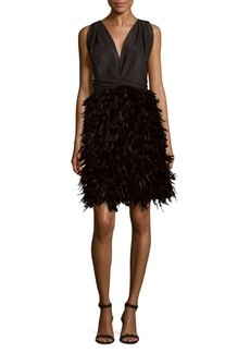 Marchesa Faille Silk Pleated Mini Dress