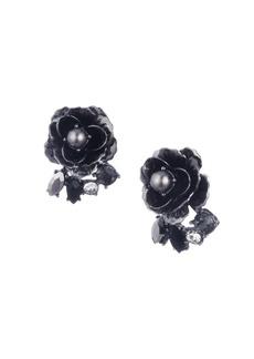 Marchesa Faux Pearl & Crystal Flower Button Earrings