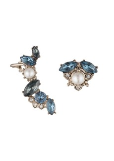 Marchesa Faux Pearl, Swarovski Crystal and Cubic Zirconia Mismatch Earrings