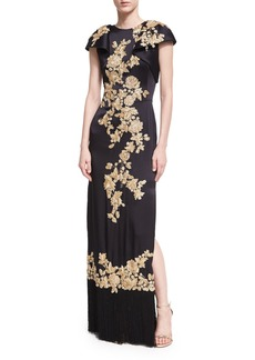 Marchesa Floral-Embroidered Column Gown with Fringe Hem