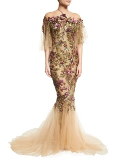 Marchesa Floral-Embroidered Halter Mermaid Gown