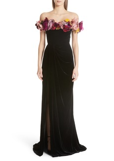 Marchesa Floral Off the Shoulder Velvet Gown