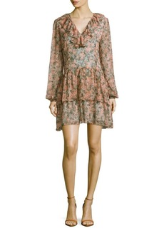Marchesa Rose Floral-Print Tiered Dress
