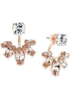 Marchesa Gold-Tone Clear & Rose Crystal Jacket Earrings