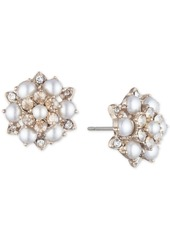 Marchesa Gold-Tone Crystal & Imitation Pearl Cluster Button Earrings