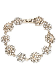 Marchesa Gold-Tone Crystal & Imitation Pearl Cluster Flex Bracelet