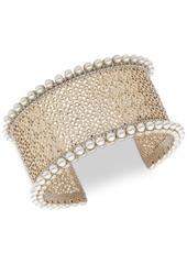 Marchesa Gold-Tone Crystal & Imitation Pearl Filigree Cuff Bracelet