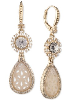 Marchesa Gold-Tone Crystal & Mother-of-Pearl Lace Double Drop Earrings