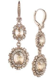 Marchesa Gold-Tone Crystal Double Drop Earrings